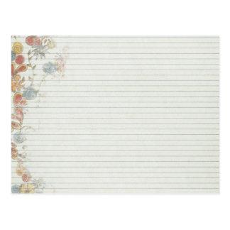 Papel del cuaderno con la flor postal