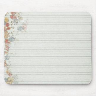 Papel del cuaderno con la flor tapetes de ratones