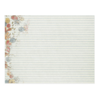 Papel del cuaderno con la flor postales