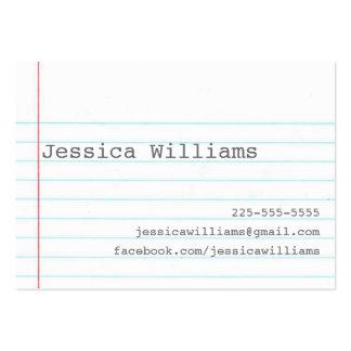 Papel del cuaderno plantilla de tarjeta personal