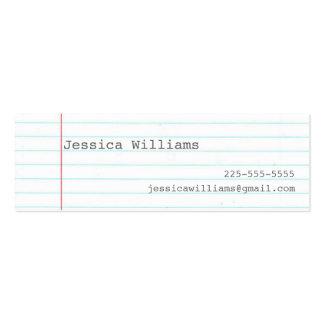 Papel del cuaderno tarjetas de visita mini