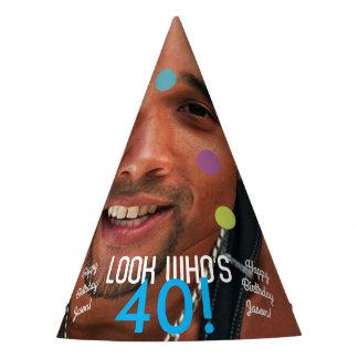 Papel del cumpleaños de la plantilla de la foto gorro de fiesta