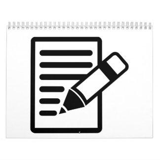 Papel del lápiz calendario