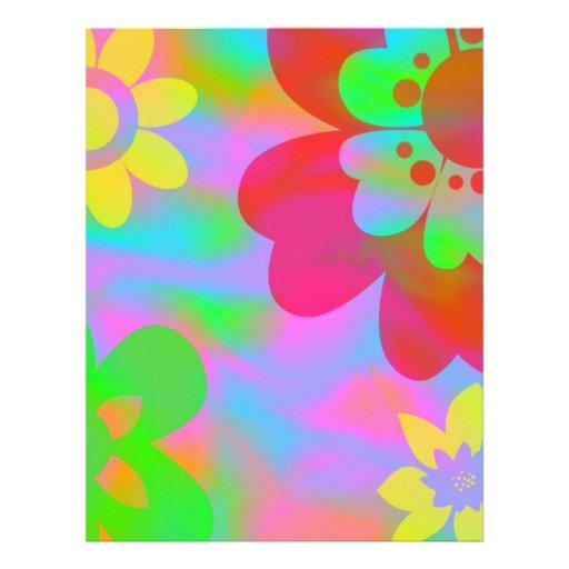 Papel del libro de recuerdos del flower power membretes personalizados