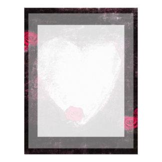 Papel elegante del corazón y de los rosas rojos membrete