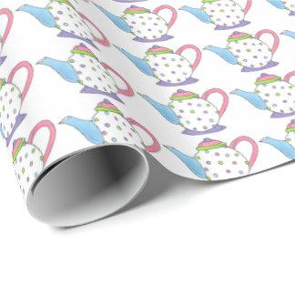 Papel en colores pastel de las teteras del pote papel de regalo