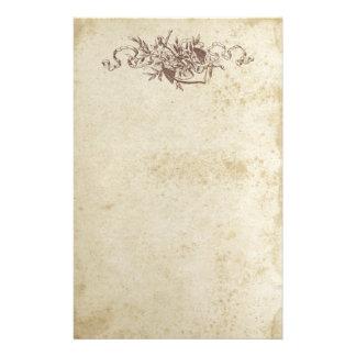 Papel floral manchado antigüedad de los efectos de  papeleria