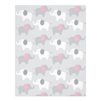 Papel gris rosado del libro de recuerdos del bebé plantilla de membrete