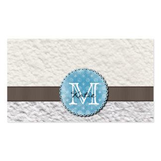 Papel hecho a mano con monograma tarjetas de visita