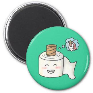 Papel higiénico divertido lindo que soña unicornio imán redondo 5 cm