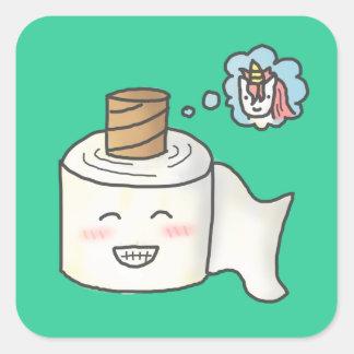Papel higiénico divertido lindo que soña unicornio pegatinas cuadradas