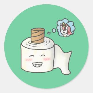 Papel higiénico divertido lindo que soña unicornio etiquetas redondas