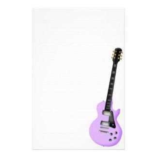 papel inmóvil de la guitarra púrpura papelería personalizada