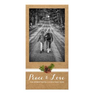Papel lleno Pinecones de la foto del navidad del Tarjeta Personal