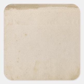 Papel manchado antigüedad sucia en blanco pegatinas cuadradases personalizadas