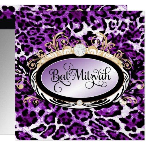 """Papel metálico del leopardo púrpura opulento del invitación 5.25"""" x 5.25"""""""