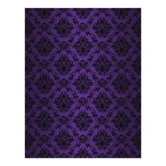 Papel negro barroco púrpura del modelo del cordón membrete personalizado