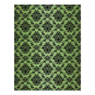 Papel negro barroco verde del modelo del cordón membrete a diseño