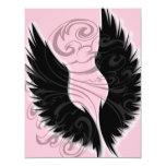 Papel negro de la invitación del ala