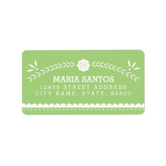 Papel Picado Address Labels - Green