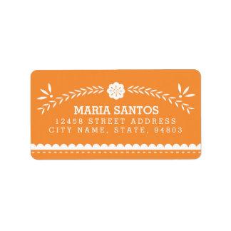Papel Picado Address Labels - Orange