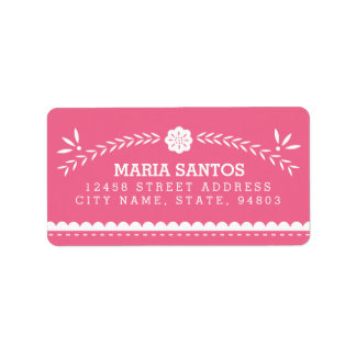 Papel Picado Address Labels - Pink