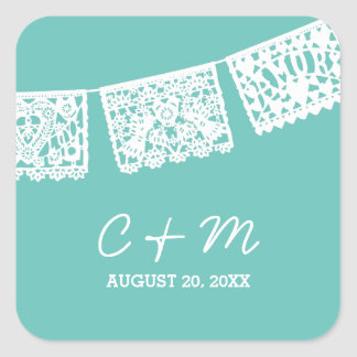 Papel Picado Aqua | Wedding Favor Sticker
