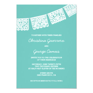 Papel Picado Aqua Wedding Invitation