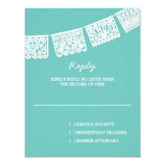 Papel Picado Aqua | Wedding Reply RSVP Card