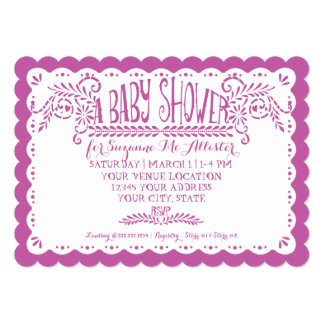 "Papel Picado Baby Girl Shower Pink Lilac Fiesta 5"" X 7"" Invitation Card"