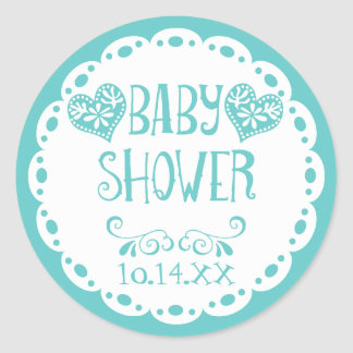 Papel Picado Baby Shower Aqua Blue Fiesta Envelope Classic Round Sticker
