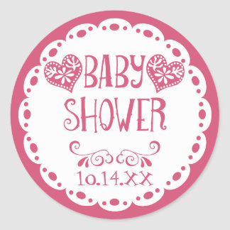 Papel Picado Baby Shower Hot Pink Fiesta Envelope Classic Round Sticker