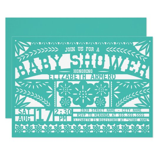 Papel Picado Baby Shower Invitation Zazzle Com