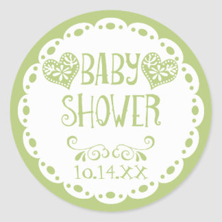 Papel Picado Baby Shower Lime Fiesta Envelope Classic Round Sticker