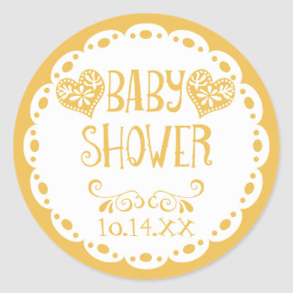 Papel Picado Baby Shower Mustard Fiesta Envelope Classic Round Sticker