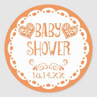 Papel Picado Baby Shower Orange Fiesta Envelope Classic Round Sticker