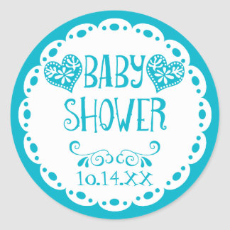 Papel Picado Baby Shower Pool Blue Fiesta Envelope Classic Round Sticker