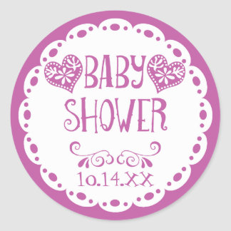 Papel Picado Baby Shower Purple Fiesta Envelope Classic Round Sticker