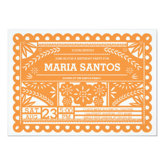 Papel Picado Birthday Party Invite - Orange