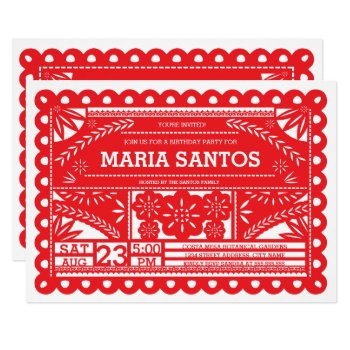 Papel Picado Birthday Party Invite - Red by origamiprints at Zazzle