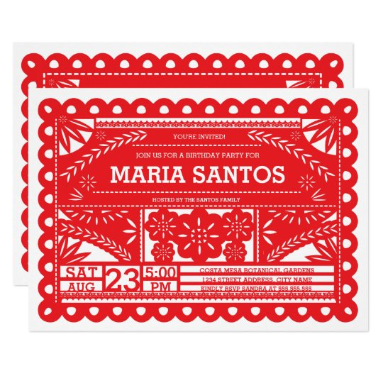 Papel Picado Birthday Party Invite Red Zazzlecom - Birthday party invitation in spanish