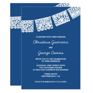 Papel Picado Blue | Wedding Invitation