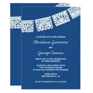 Papel Picado Blue   Wedding Invitation