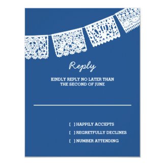 Papel Picado Blue | Wedding Reply RSVP Card
