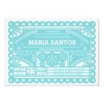 """Papel Picado Bridal Shower Invite - Blue 5"""" X 7"""" Invitation Card"""