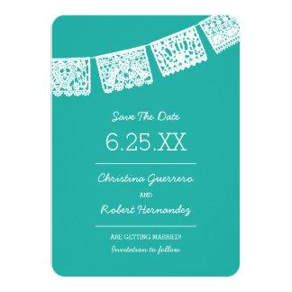 Papel Picado Bright Aqua | Wedding Save The Date Card