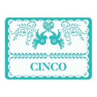 Papel Picado Cinco Five Table Number Aqua Fiesta Card