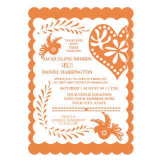 Papel Picado Citrus Orange Fiesta Wedding Banner Card
