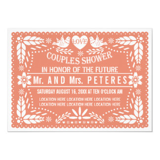 Papel picado coral wedding couples shower card