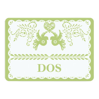 Papel Picado Dos Two Table Number Gold Fiesta Card